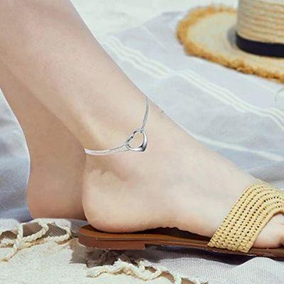 Ankle Heart Charm Bracelet Sterling Silver Anklet Chain Bracelet Beach Foot Jewelry for Women