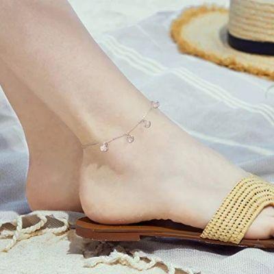 Boho Beach Starfish Seashell Ankle Heart Charm Bracelet Sterling Silver Anklet Chain Bracelet