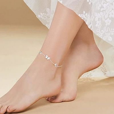 Sterling Silver Created Pearl Butterfly Jewelry Anklets for Women Birthday Gift 9