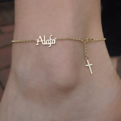 Personalized Gothic Name Anklet Lariat Style with Cross Adjustable Chain 8.5