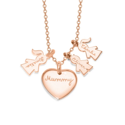 "Personalized Love Heart Family Necklace Adjustable 16""-20"""