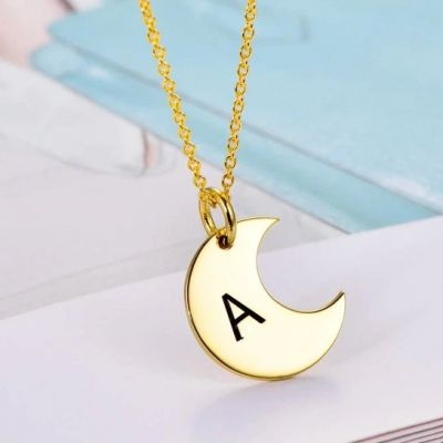 "Personalized Dainty Gold Moon Initial Necklace Adjustable 16""-20"""