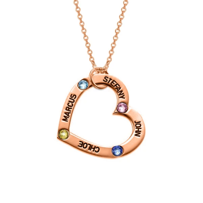 925 Sterling Silver Personalized Birthstone Heart Necklace Adjustable 16