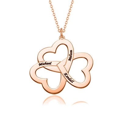 """Heart Four Leaf Clover Copper/925 Sterling Silver Personalized Lucky Necklace Adjustable 16""""-20"""""""