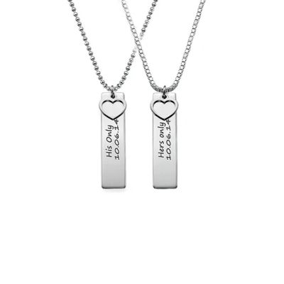 """Copper/925 Sterling Silver Personalized Bar Engraved With A Heart Necklace Adjustable 16""""-20"""""""