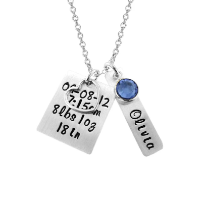 """Personalized Bar Engraved Necklace With A Heart Charm Adjustable 16""""-20"""""""