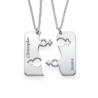 Personalized Engraved His and Hers Necklace for Couples Adjustable 16