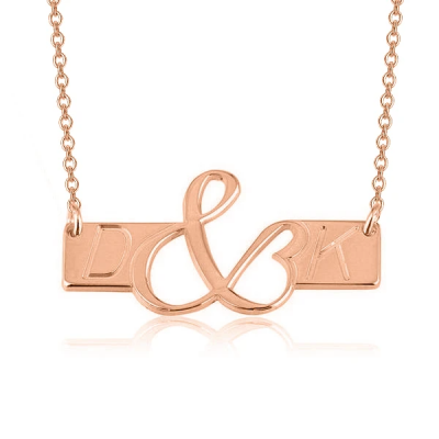 "Copper/925 Sterling Silver Personalized Initials Love Bar Necklace Adjustable 16""-20"""