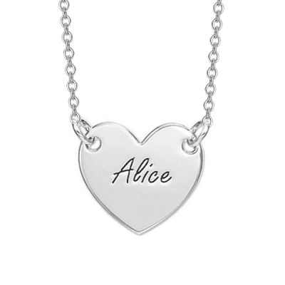Personalized Engraved Heart Necklace Adjustable 16-20