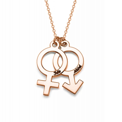 "Personalized Simple Gender Symbol Necklace Adjustable 16""-20"""