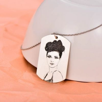 Personalized Engraved Photo Necklace Adjustable 16