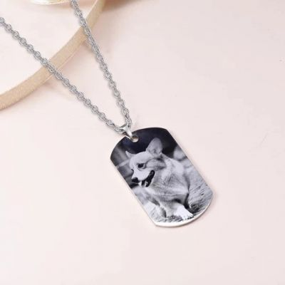 """Stainless Steel Personalized Engraved Photo&Text Necklace Adjustable 16""""-20"""""""