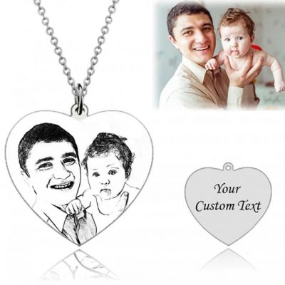 """Personalized Heart Engraved Photo Necklace Adjustable 16""""-20"""""""