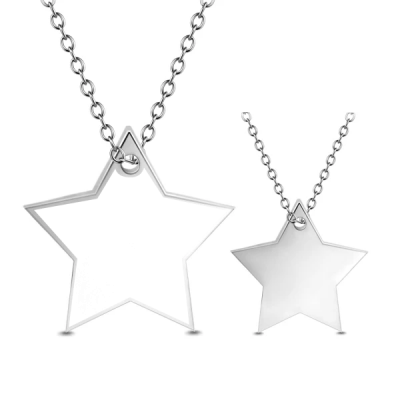"""Star Personalized Photo Engraved Pendant Necklace Adjustable 16""""-20"""""""