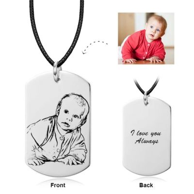 """Personalized Kids Photo Necklace Adjustable 16""""-20"""""""