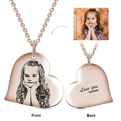 """Love Heart Kids Personalized Engraved Photos Necklaces Adjustable 16""""-20"""""""