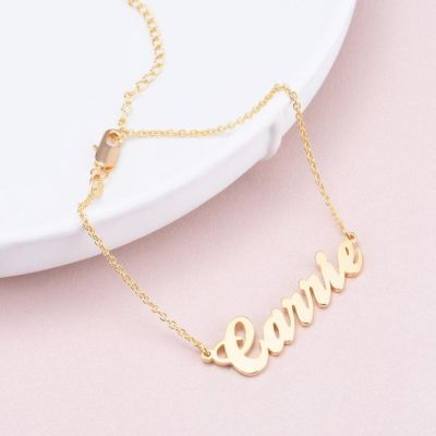 """Carrie - Personalized Name Anklet Adjustable 8.5""""-10"""""""