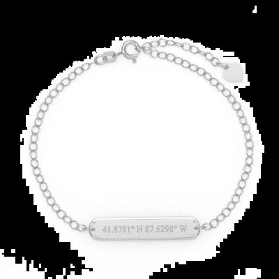 """925 Sterling Silver Personalized Coordinate Oval Name Bar Bracelet Adjustable 6""""-8.5"""""""