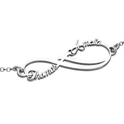 "925 Sterling Silver Personalized Infinity 2 Names Bracelet Adjustable 6""-7.5"""