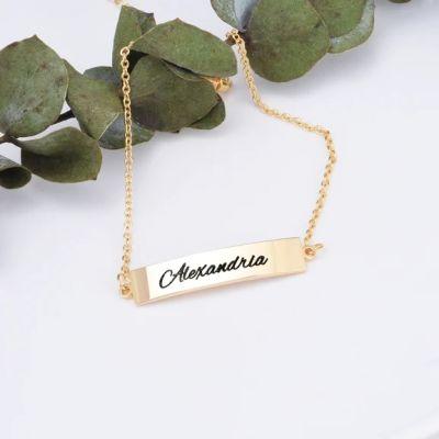 "Copper/925 Sterling Silver Personalized Name Bar Anklet Length Adjustable 8.5""-10"""