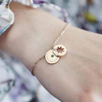 925 Sterling Silver Secret Star Birthstone Personalised Bracelet Adjustable Chain 6