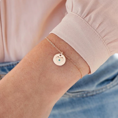 925 Sterling Silver Personalised Secret Message Heart Birthstone Bracelet Adjustable Chain 6