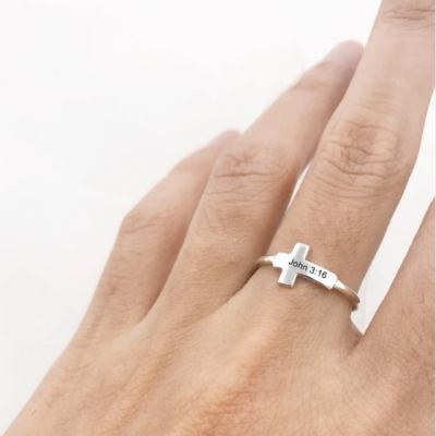 925 Sterling Silver Personalized Bible Verse Ring Silver Cross Ring