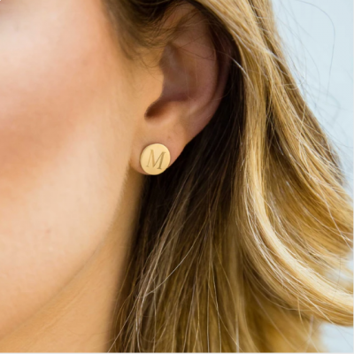 Personalized Round Monogram Earrings
