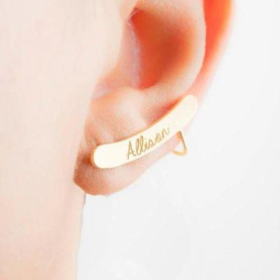 Sterling Silver Personalized Custom Name Bar Earrings