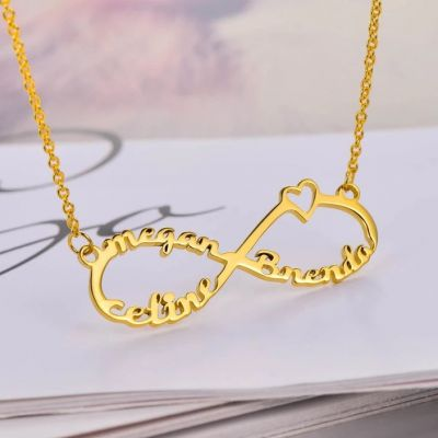 "Personalized Infinity Name Necklace With 3 Names Adjustable 16""-20"""