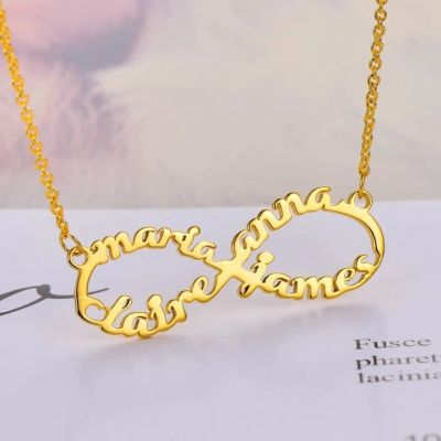 """Personalized Infinity Name Necklace With 4 Names Adjustable 16""""-20"""""""