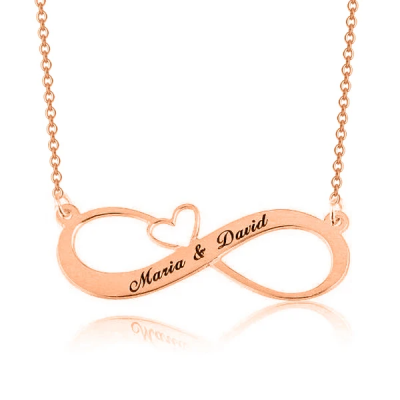 "Personalized Engraved Infinity Necklace with Heart Adjustable 16""-20"""