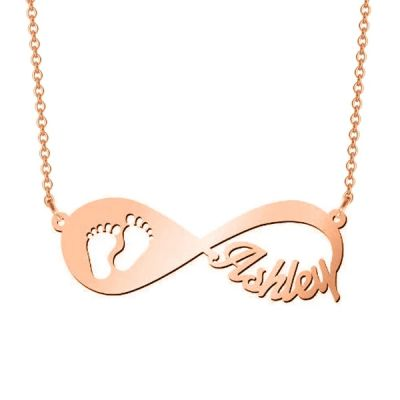 "'In My Footsteps' - Personalized Infinity Name Necklace Adjustable 16""-20"""