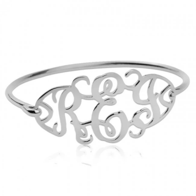 Personalized Cut Out Bangle with Monogram