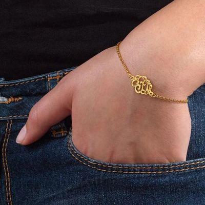 """14K Gold Personalized Monogram Bracelet Length Adjustable 6""""-7.5"""""""