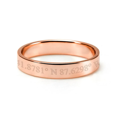 10K/14K Gold Personalized Coordinate Ring