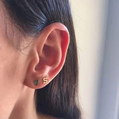 10K/14K Gold Personalized Initial Stud Earrings