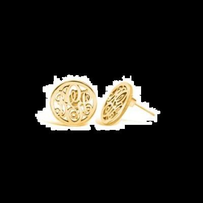 10K/14K Gold Personalized Circle Stud Monogram Earrings