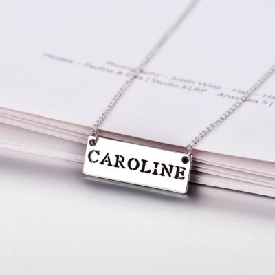 """Personalized Hollow Bar Name Necklace Adjustable 16""""-20"""""""