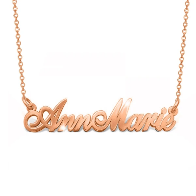 "14K Gold Personalized Two Names Necklace Adjustable 16""-20"""