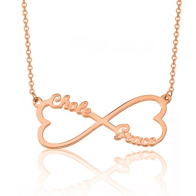 "Custom Infinity Heart Pendant Name Necklace Adjustable 16""-20"""