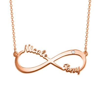 """Personalized Infinity Charm Necklace With Zircon Adjustable 16""""-20"""