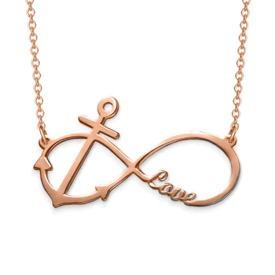"Personalized Infinity Anchor Pendant Necklace Adjustable 16""-20"
