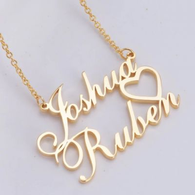 """Joshua❤Ruben - Personalized Double Names Necklace with A Cut Out Heart Adjustable 16""""-20"""""""