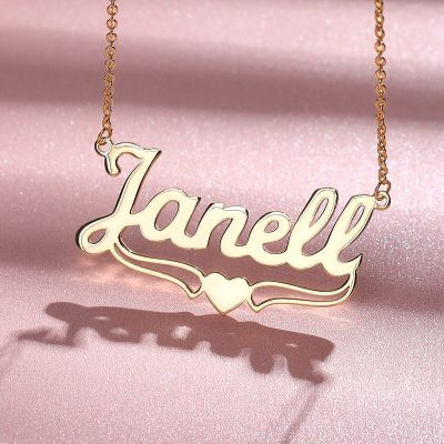 """Janell - Personalized Name Necklace With Heart Adjustable 16""""-20"""""""