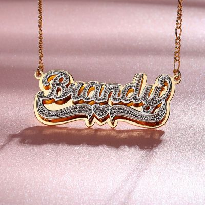 Custom 3D Name Plate Necklace with Middle Heart