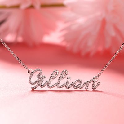 "Gillian - 925 Sterling Silver Personalized Dainty Name Necklace Adjustable Chain 16""-20"