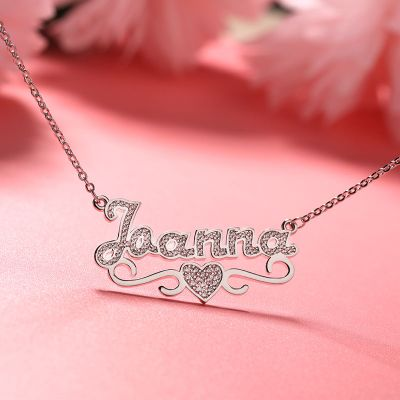 "Jaanna - 925 Sterling Silver Personalized Middle Heart Name Necklace Adjustable 16""-20"""