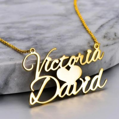 "Victoria❤David - Sweet Love Personalized Name Necklace Adjustable 16""-20"""