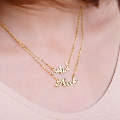"""Personalized Double Name Necklace Adjustable 16""""-20"""""""